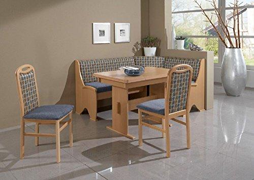 Beauty.Scouts Eckbankgruppe Blue Collar, Buche Natur Dekor blau Set 4teilig Wangentisch Tisch Truheneckbank 2 Stühle Küche Esszimmer Landhaus