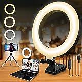 8' Ringlicht Laptop, Beleuchtung Videokonferenz Licht, Led Videoleuchte mit - USB-Kabelsteuerung, Klemmhalterung, Handy Stativ, für Fernarbeit, Fernunterricht, Live Streaming