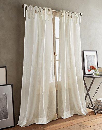 DKNY Paradox Tie Tab Sheer Window Curtain Panel Pair