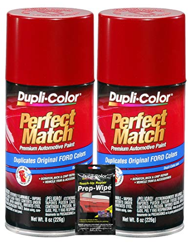Dupli-Color Candy Apple Red Exact-Match Automotive Paint for Ford Vehicles - 8 oz, Bundles with Prep Wipe (3 Items)