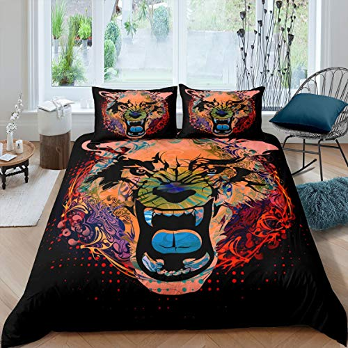 Tbrand Oil Painting Wolf Animals Comforter Cover Single Black Sharp Teeth Comforter Cover for Boys Girls Children Teens Bedroom Decor 2pcs (1 Duvet Cover +1 Pillowcases)