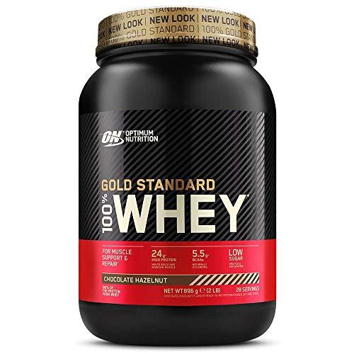 Optimum Nutrition ON Gold Standard 100% Whey Proteína en Polvo Suplementos Deportivos, Glutamina y Aminoacidos, BCAA, Chocolate y Avellana, 28 Porciones, 900g, Embalaje Puede Variar