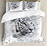 HUA JIE Bedding Set Juego Juego Funda Nórdica Animales, Retrato Un Tigre Blanco, Naturaleza Salvaje, predador, Salpicaduras Acuarela, Juego Cama 3 Piezas