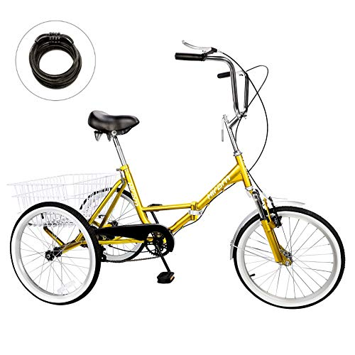 HIRAM Adult Tricycle Trike Cruise Bike Three-Wheeled Bicycle with Large Size Basket for...