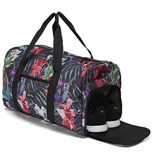Ela Mo's Elegante Sporttasche Reisetasche mit Schuhfach | 38 Liter Handgepäck Weekender | für Frauen und Männer | in 6 trendigen Designs (Tropical Heat)