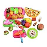 COJJ Küchenspielzeug Schneiden Lebensmittel Obst Gemüse mit Klett-Verbindung, Kinderküche Essen Spielküche Kaufladen Zubehör Pädagogisches Lernen Spielzeug Rollenspiele (28 PCS)