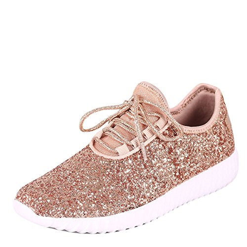 Forever Link Women's REMY-18 Glitter Fashion Sneakers Rosegold 10