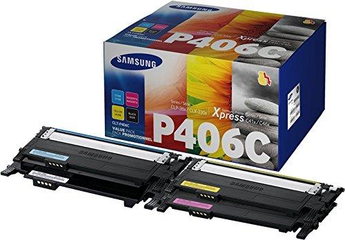 Samsung CLT-P406C SU375A Multipack da 4 Cartucce Toner Originali, 1.500 Pagine Nero e 1.000 Pagine Colore, per Stampanti Laserjet Serie CLP 360, CLX 3305 e C410, Nero/Ciano/Giallo/Magenta