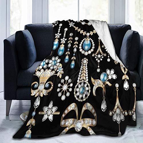 PANILUR Manta de Franela Suave,Joyas Preciosos Pendientes Collar Colgantes Lujo Diamante Perla Tesoro,Cama de Camping para sofá 127x102cm