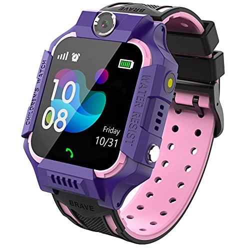 PTHTECHUS Kinder Spiel Smartwatch Telefon, Kind Armbanduhr Touchscreen Uhr mit Anruf Taschenrechner Taschenlampe Schrittzähler SOS Wecker Kamera, Geschenk für Jungen Mädchen Studenten (Rosa)