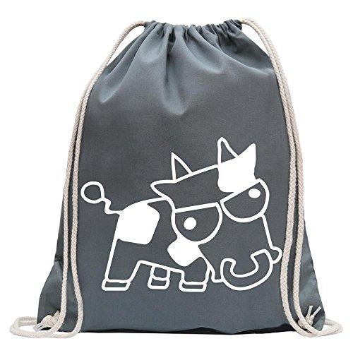 Kiwistar - Drift Cow mit Text sauer Kuh Turnbeutel Fun Rucksack Sport Beutel Gymsack Baumwolle mit Ziehgurt