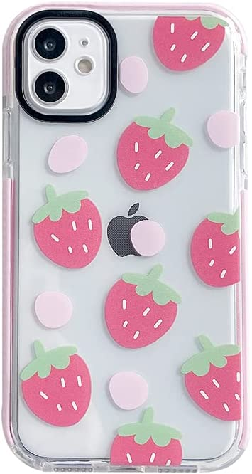 Pink Edge Cute Strawberry Clear Phone Case for iPhone 11 Fruit Elements Protective Shell Soft Pink Built-in Bumper Cover for iPhone 11
