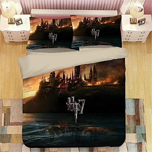 Fundas para Edredón Harry Potter Microfibra Poliéster Cómoda Suave Funda Nordica 155X220 Cm con Cremallera + 2 Funda Almohada