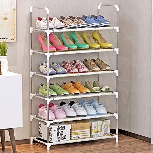 Luckly Plástico + Aluminio Estante de Zapatos, 6 Niveles, Capacidad para hasta 16 Pares de Zapatos, Ahorro Espacio/Estabilidad/Durable, para Zapatos, Botas, Zapatillas, 60×30×108cm,A