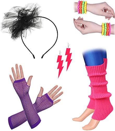 ArtiDeco Damen 80er Jahre Zubehör 1980s Disco Party Kostüm Outfit Zubehör Set inklusive Stirnband Ohrringe Armbänder Beinlinge Fischnetz Handschuhe (Set-11)