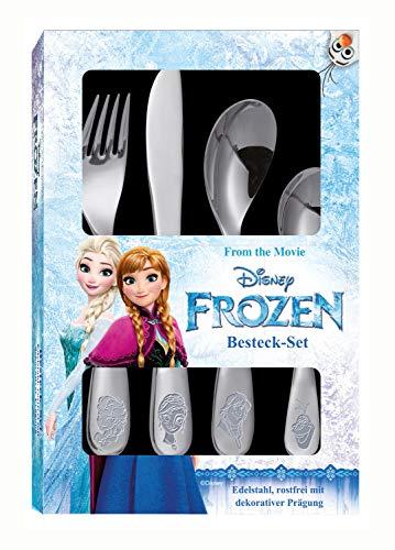 POS 25650 - Besteckset mit Disney Frozen Prägung, 4 teiliges Kinderbesteck aus rostfreiem Edelstahl, spülmaschinengeeignet, bestehend aus Messer, Gabel, großer und kleiner Löffel
