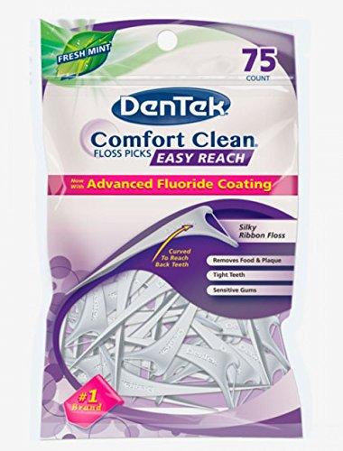 DenTek Comfort Clean Zahnseiden-Plektren, Rückenzähne, 75 Stück