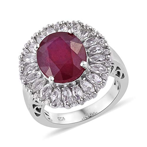 TJC African Ruby Halo Ring for Women Platinum Plated 925 Sterling Silver Cambodian Zircon Size M, 9.15 Ct