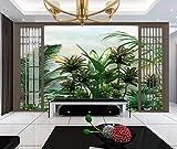 3D Photo Murale Papier Peint Vertmain Plantes Noires Et Blanches Peinture À L'Huile Peinte À La Papier Peint Pour Salon Chambre Intérieur De La Maison Décoration Art -300x210CM-XXL