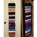 The Roll Keeper Closet Storage and Organization - 16 Rolls Hanging Closet System - Smart Closet Space Saver for T-shirts - Non Slip Hangers Multifunctional (50L × 6W ins)