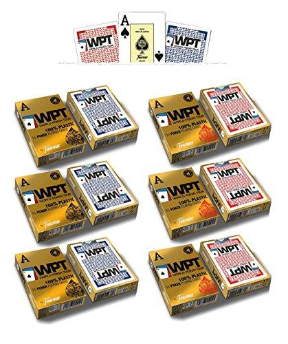 Outletdelocio. Pack 6 barajas Fournier Poker World Tour WPT. 55 cartas. 100% plastico lavable. Calidad Casino. 6-54009