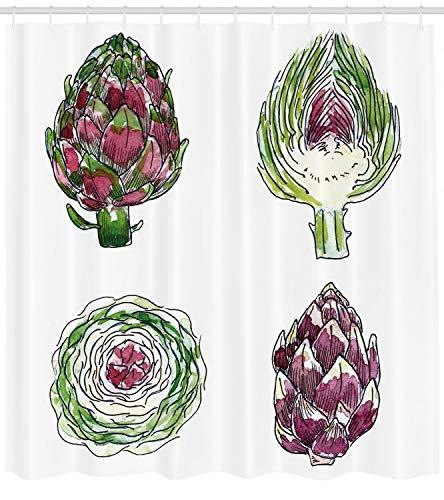 123456789 Alcachofa Ducha Cortina Verduras Dieta Comida Imprimir para baño