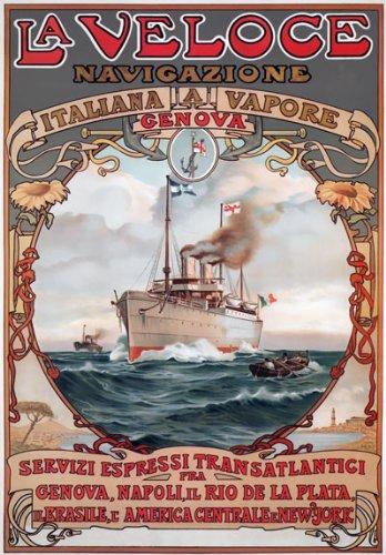 "TX193 Vintage La Veloce Italian Italy Genova Napoli Shipping Cruise Ship Ocean Liner Travel Poster Re-Print - A3 (432 x 305mm) 16.5"" x 11.7"""