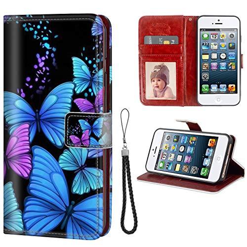 FAUNOW Funda tipo cartera para iPhone 5/5S/SE con función atril, ranuras para tarjetas, color azul