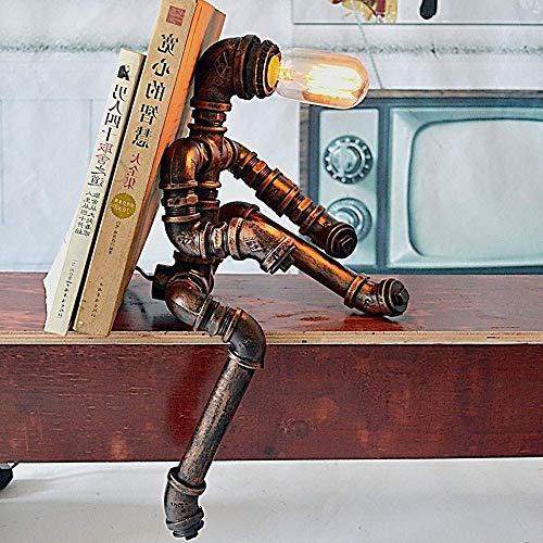 Lámpara Escritorio Nostálgico steampunk lámpara de mesa creativo metal pipe robot retro industrial lámpara de mesa vintage coffee bar shop loft aprendizaje mesita de noche decoración lámpara de mesa