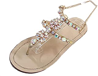 ShenPr Women Shining Flat Shoes Rhinestone Chain Bead Bohemia T-Strap Sandals Peep-Toe Beach Sandals