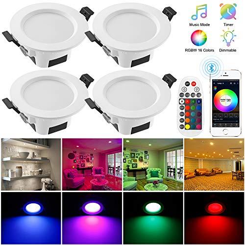 4er Bluetooth Smart 9W LED Einbaustrahler RGBW+CCT 5 in 1 Einbauleuchte LED Spots 230V Dimmbar Einbauleuchten Stahl Deckenspot für Deckenspots Wohnzimmer, Badezimmer