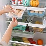 JVtech Papelera de almacenamiento de huevos, organizador de huevos para nevera, contenedor de cajón con asa, estante de refrigerador, bandeja de huevo, caja de almacenamiento extraíble para 15 huevos