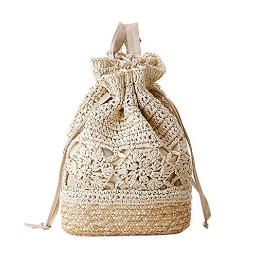 Dwqlx Verano Con Cordón De Ganchillo De Paja Bolsos De Playa Diseñador Mujer Hollow Out Flor Mochila De Punto Hecha A Mano @ A