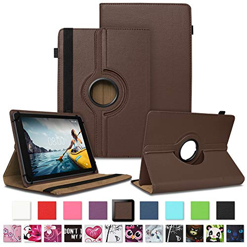 NAUC Tablet Hülle kompatibel für Medion Lifetab E10430 E10604 E10412 E10511 E10513 E10501 Tasche Schutztasche Cover Schutz Hülle 360° Drehbar Etui hochwertiges Kunst-Leder, Farben:Braun