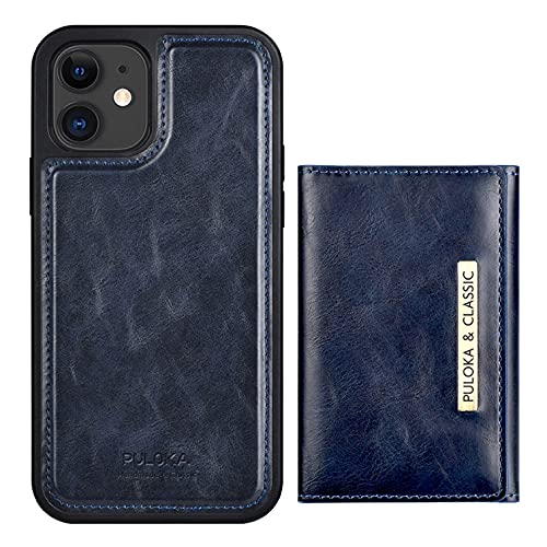 ZÖNNLite Magnetic Wallet Case for iPhone 11 with Detachable Credit Card Holder, Leather Case with Kickstand Card Slot, 5 Card Slots, Wireless Charging, for Men & Women, Color Blue
