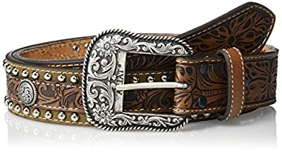 Ariat Men's Center Scroll Over Nail Edge Western Belt, Brown, 42