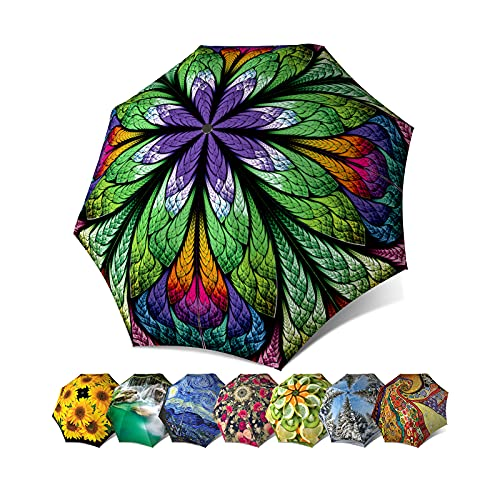 Designer Umbrella Windproof Auto Open Close - Art Umbrella for Women - Fashion Umbrella Stained Glass - Compact Automatic Rain Umbrella Peacock Purple Design - Vintage Umbrella Stylish Gift by LB