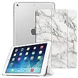 Fintie Hülle für iPad Air 2 (2014 Modell) / iPad Air (2013 Modell) - Ultradünne Superleicht Schutzhülle mit Transparenter Rückseite Abdeckung mit Auto Schlaf/Wach Funktion, Marmor Weiß