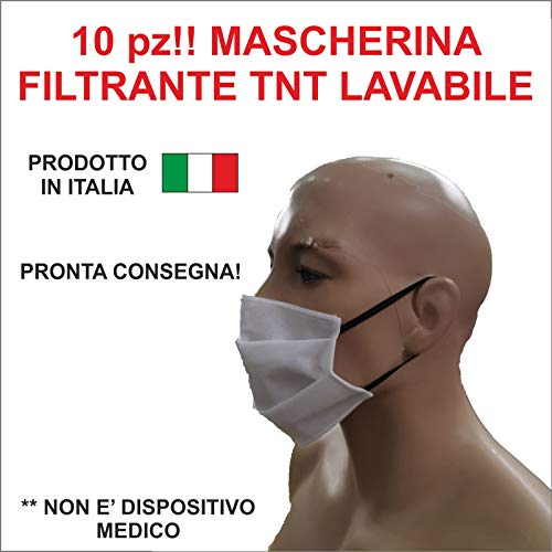 10 pz MASCHERINA FILTRANTE IN TNT! LAVABILE! MADE IN ITALY…