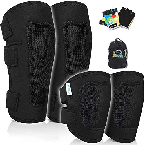 MOVTOTOP Knieschützer für Kinder, Kinder Knie- und Ellbogenschützer mit Handschuhen - Verstärkte Nähte, Kleinkind-Sportschutzausrüstung mit Netztasche für KinderMittel (Schwarz, 4-8 Jahre alt)