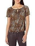 Star Vixen Women's Short/Slit Sleeve Keyhole-Tie Peasant Top Bubble Hem, Leopard Print, M