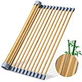 Freshmage Upgraded Roll up Dish Drying Rack, Double Protected Bamboo Foldable Dish Drying Rack Over The Sink Dish Drying Rack Kitchen Gadgets for Air-Drying Fruits, Bowls, Pot (17.5 × 13.5 inches)