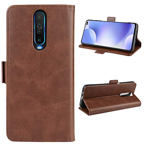 Liluyao Funda telefónica para Xiaomi For Xiaomi redmi K30 Doble Hebilla Caballo Loco de Negocios del teléfono móvil de la pistolera con función Soporte de la Tarjeta Monedero (Color : Brown)