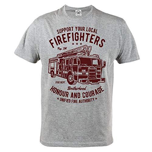 Rule Out Herren Casual T-Shirt. Firefighters Brotherhood. Feuerwehr T-Shirt. Grau (Größe Large)