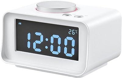 Reloj despertador digital, CYBORIS Pantalla LCD Reloj despertador despertador con altavoz estéreo con cable,