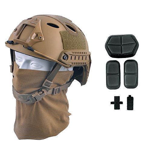 LOOGU Fast PJ Base Jump Military Helmet with 12-in-1 Headwear(TN)