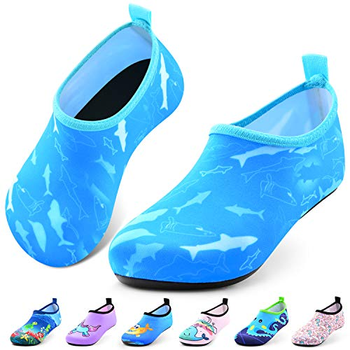 Sunnywoo Water Shoes for Kids Girls Boys,Toddler Kids Swim Water Shoes Quick Dry Non-Slip Water Skin Barefoot Sports Shoes AquaSocks for Beach Outdoor Sports,2.5-4 Big Kid,Blue Dolphin
