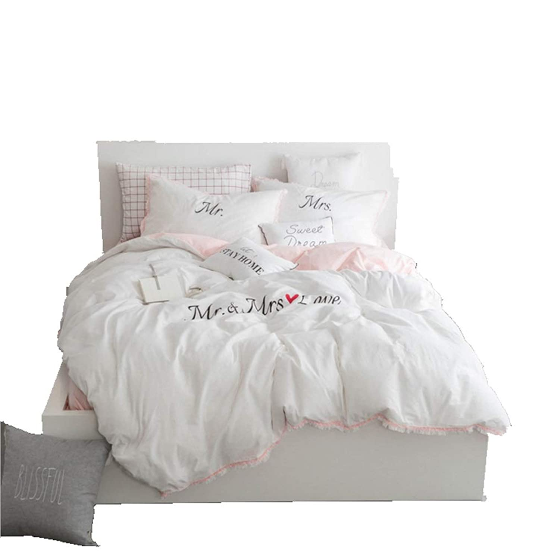 重力視力バストFELICIAAA 寝具セットツイルクラフトウォッシュコットンストリームスーツ刺繍、ホワイトピンク。 (色 : ピンク, サイズ : 200CM)