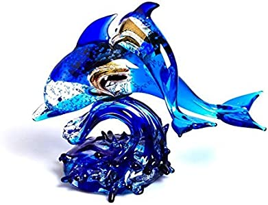 YourMurano, Escultura de Cristal de Murano, Pareja de delfines, Cristal azul, Representación de animales, Hecho a mano, Vidrio soplado, Blue Family