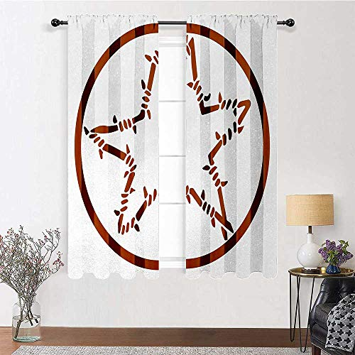 Adorise Curtain Panel Barbed Wire Style Star in a Circle Western Themed Motif Borders Thermal Insulated Panels for Living Room (1 Pair, W27.5 x L63 Each Panel)